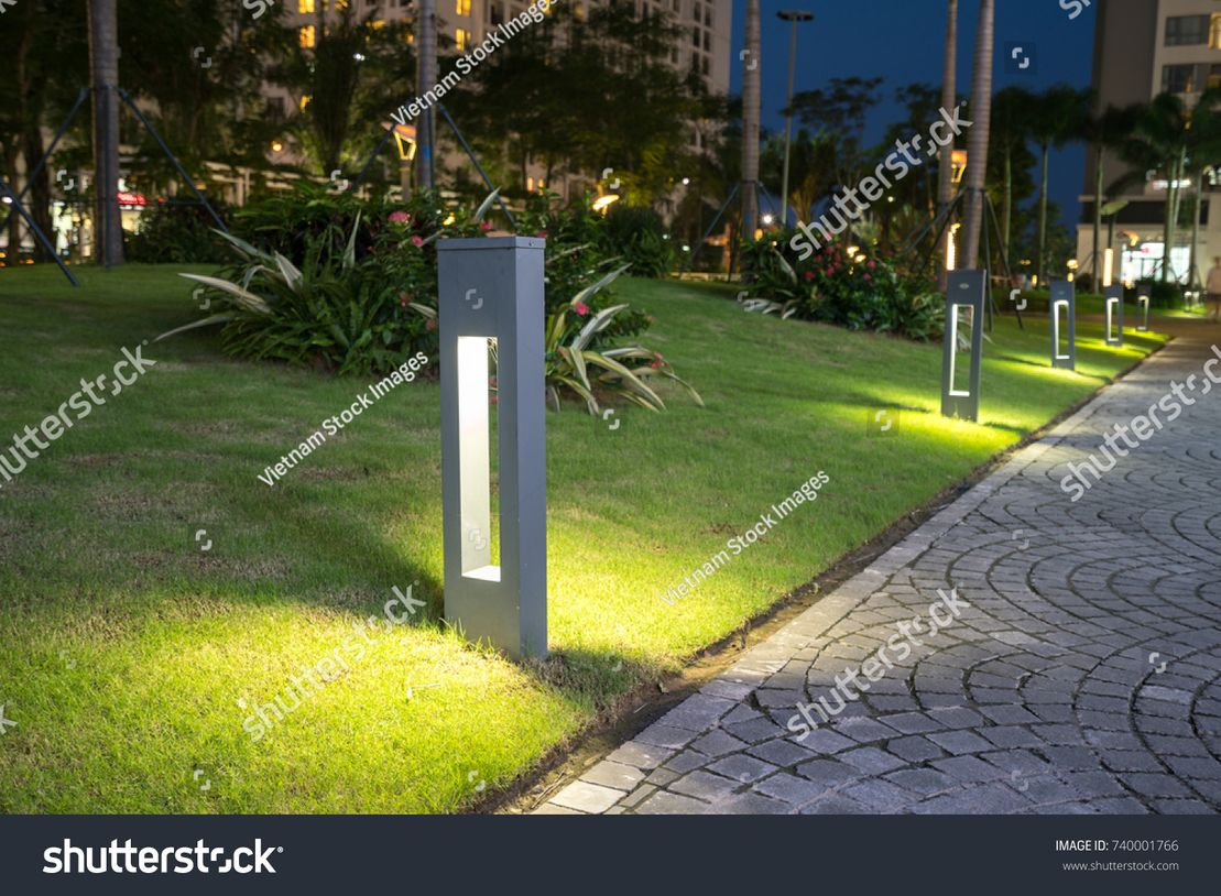 Garden glowing decoration light in the park at night